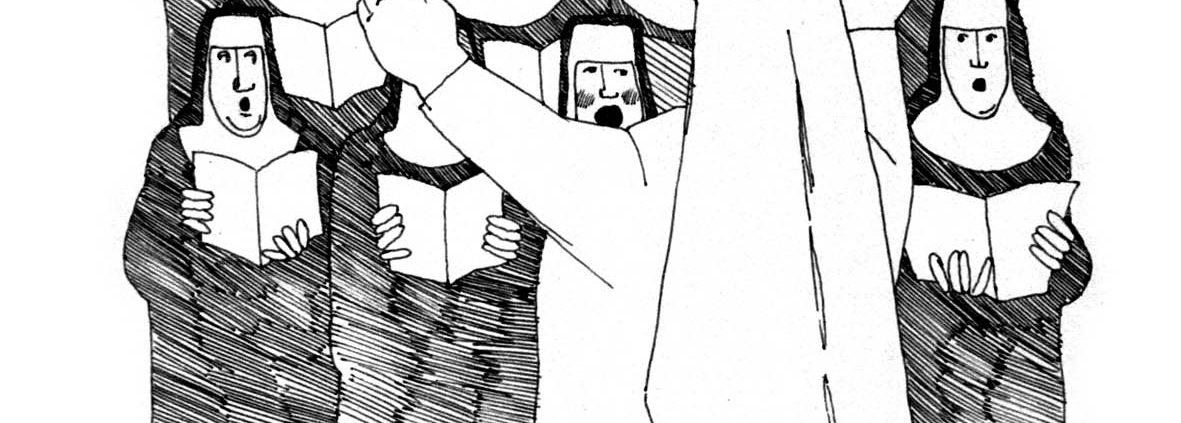 Zeichnung: Restituta in weiß dirigiert einen Schwesternchor