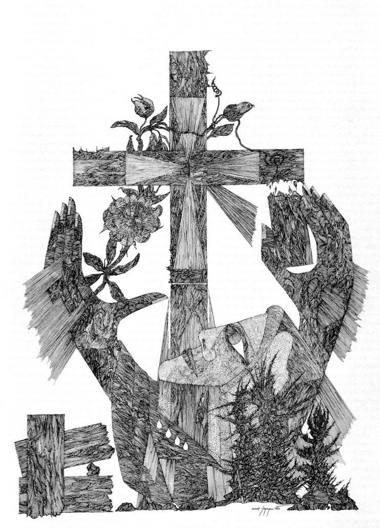 Zeichnung: Restituta bricht die Haken von einem Kreuz ab