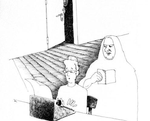Zeichnung: Restituta diktiert einer Frau aus einem Buch, diese schreibt auf einer Schreibmaschine. Im Hintergrund schaut jemand durch eine Tür in den Raum