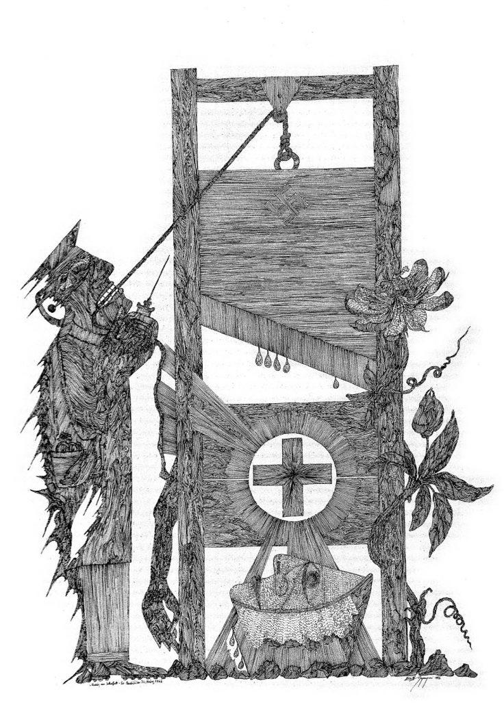 Zeichnung: Restituta und ein Henker vor der Guillotine
