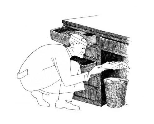 Zeichnung: ein Arzt durchwühlt einen Papierkorb unter einem Schreibtisch und hält einen Zettel in der Hand, Schubladen stehen offen