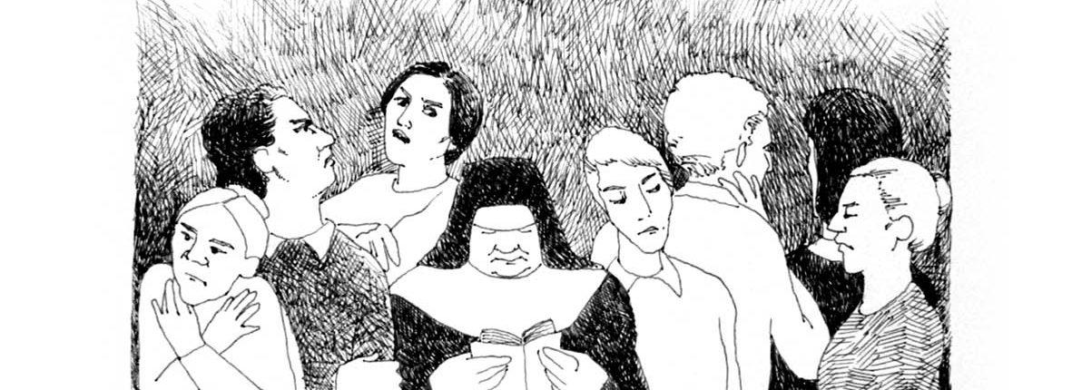 Zeichnung: Restituta liest im Gefängnis, um sie herum stehen Gefangene, ein Gitterfenster ist im Hintergrund zu sehen