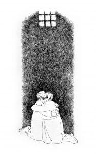 Zeichnung: Restituta und ihre Mitgefangene Anna Haider umarmen sich in der Zelle