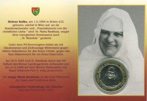 Abbildung von Schwester Restituta als Doppelbildchen mit Gedenkmedaille mit deutschem Text