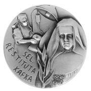 Medaille mit Abbild Restituta in schwarz-weiß