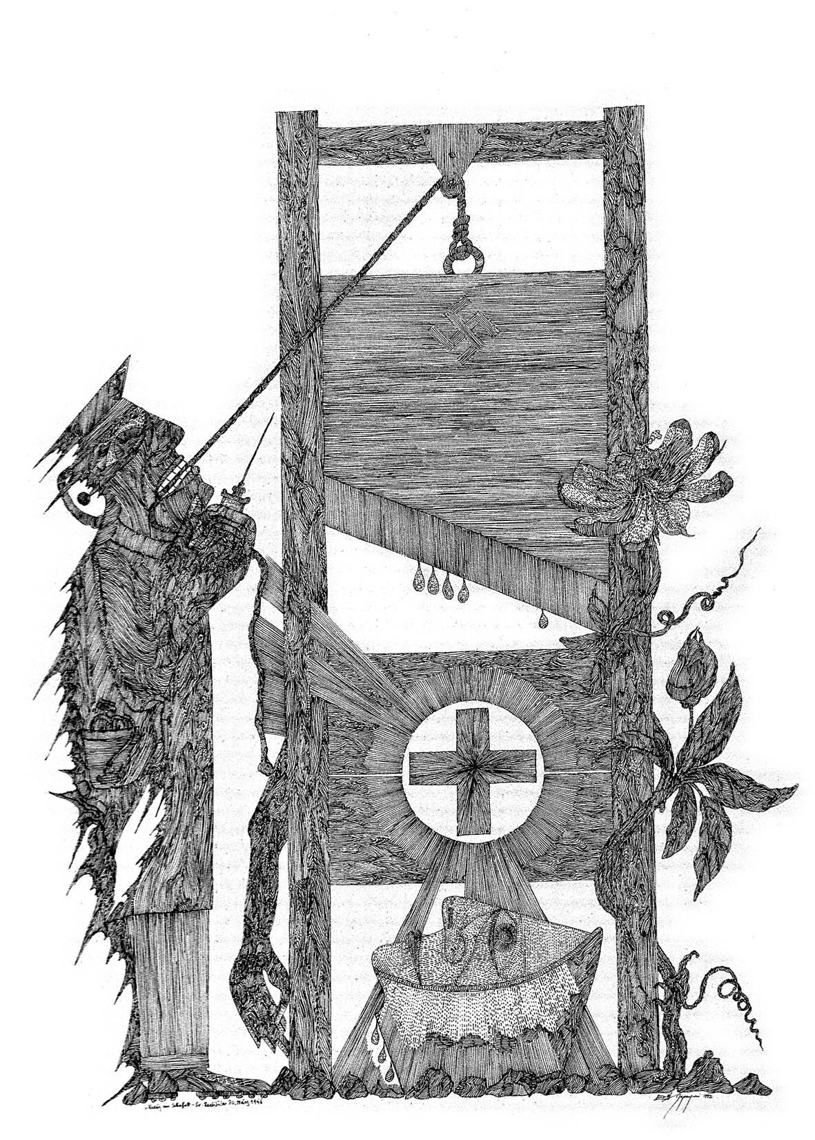 """Kreuz im Schafott – Sr. Restituta 30. März 1943"" – Ernst Degasperi (Foto: F. J. Rupprecht)"