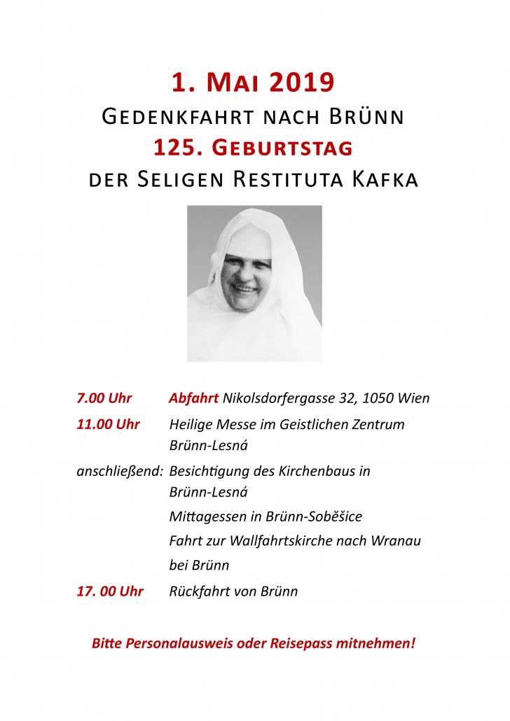 Einladung zur Gedenkfahrt nach Brünn am 125. Geburtstag der seligen Restituta